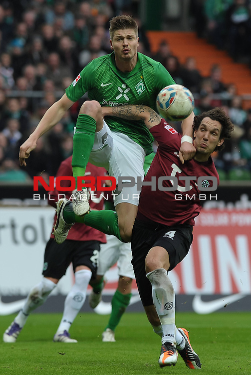 11.03.2012, Weserstadion, Bremen, GER, 1.FBL, Werder Bremen vs Hannover 96, im Bild Sebastian Pr&ouml;dl / Proedl (Bremen #15), Emanuel Pogatetz (Hannover #4)<br /> <br /> // during the match Werder Bremen vs Hannover 96 on 2012/03/11, Weserstadion, Bremen, Germany.<br /> Foto &copy; nph / Frisch *** Local Caption ***