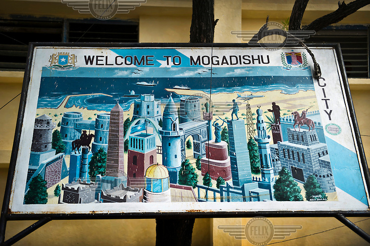 A billboard illustrating the city with all its landmark buildings and monuments.