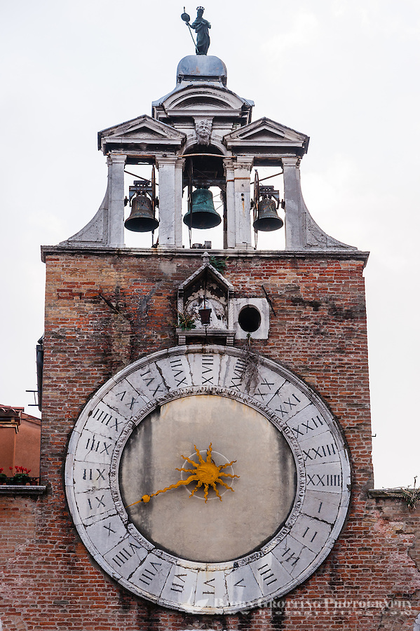 Italy, Venice. Church bell tower.
