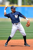 New York Yankees minor league shortstop Cito Culver #61 during a Spring Training game against the Toronto Blue Jays at the Englebert Complex on March 19, 2013 in Dunedin, Florida.  (Mike Janes/Four Seam Images)