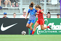 Boyds, MD - Saturday August 12, 2017: Angela Salem, Meggie Dougherty Howard during a regular season National Women's Soccer League (NWSL) match between the Washington Spirit and The Boston Breakers at Maureen Hendricks Field, Maryland SoccerPlex.