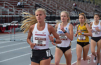 NWA Democrat-Gazette/BEN GOFF @NWABENGOFF<br /> Quinn Owen of Arkansas leads Reagan Hausmann of Tulsa, Jordyn Kleve of Missouri and Greta Taylor of Arkansas in the women's 3,000 meter run Friday, April 12, 2019, at the John McDonnell Invitational at John McDonnell field in Fayetteville. Owen placed second to Kleve, who won with a time of 9 minutes 53.32 seconds.