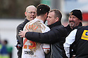 Stevenage manager Gary Smith congratulates Dani Lopez after his hat-trick. Stevenage v Sheffield United - npower League 1 -  Lamex Stadium, Stevenage - 16th March, 2013. © Kevin Coleman 2013.. . . .