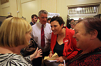 Pictured: Labour candidate for Gower constituency Tonia Antoniazzi (3rd L) is congratulated on her win after it was announced.  Friday 09 June 2017<br />Re: Counting of ballots at Brangwyn Hall for the general election in Swansea, Wales, UK