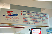 Directional signage inside the Quicken Loans Arena in Cleveland, Ohio, site of the 2016 Republican National Convention on Saturday, July 17, 2016.<br /> Credit: Ron Sachs / CNP<br /> (RESTRICTION: NO New York or New Jersey Newspapers or newspapers within a 75 mile radius of New York City)