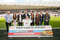 Match sponsor prior to the Barclays Premier League match between Swansea City and Norwich City played at the Liberty Stadium, Swansea  on March the 5th 2016