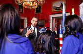 United States President Barack Obama speaks to members of  Team America Rocketry Challenge (TARC), of Presidio, Texas, while touring student science fair projects on exhibt at the White House in Washington, D.C. on February 7, 2012.  Obama hosted the second White House Science Fair celebrating the student winners of science, technology, engineering and math (STEM) competitions from across the country. .Credit: Molly Riley / Pool via CNP