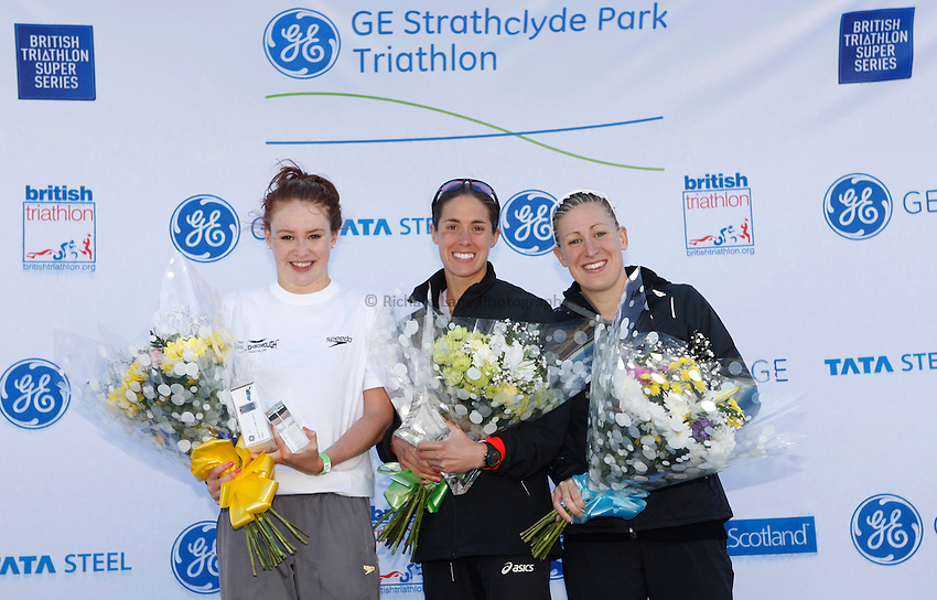 Photo: Richard Lane/Richard Lane Photography. GE Strathclyde Park Triathlon. 22/05/2011. Elite Women Result, (lt to rt) Lucy Hall in second, Helen Jenkins in first and Jodie Stimpson in third.
