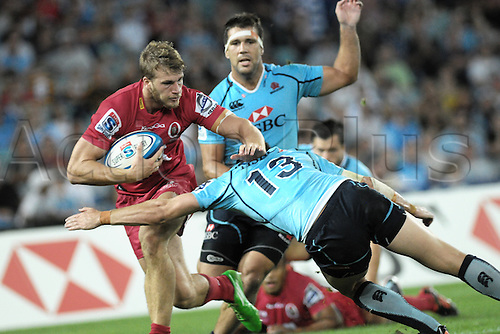 25.02.2012 Sydney, Australia. Action during the FxPro Super Rugby game between the New South Wales Waratahs and Queensland Reds at the ANZ Stadium,Sydney...