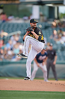 Salt Lake Bees starting pitcher Nick Tropeano (43) delivers a pitch to the plate against the Reno Aces at Smith's Ballpark on June 27, 2019 in Salt Lake City, Utah. The Aces defeated the Bees 10-6. (Stephen Smith/Four Seam Images)