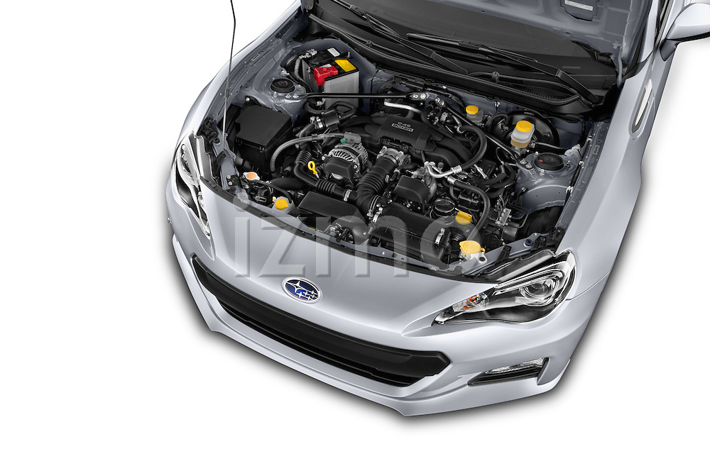 Car Stock 2015 Subaru BRZ Limited AT 2 Door Coupe Engine high angle detail view