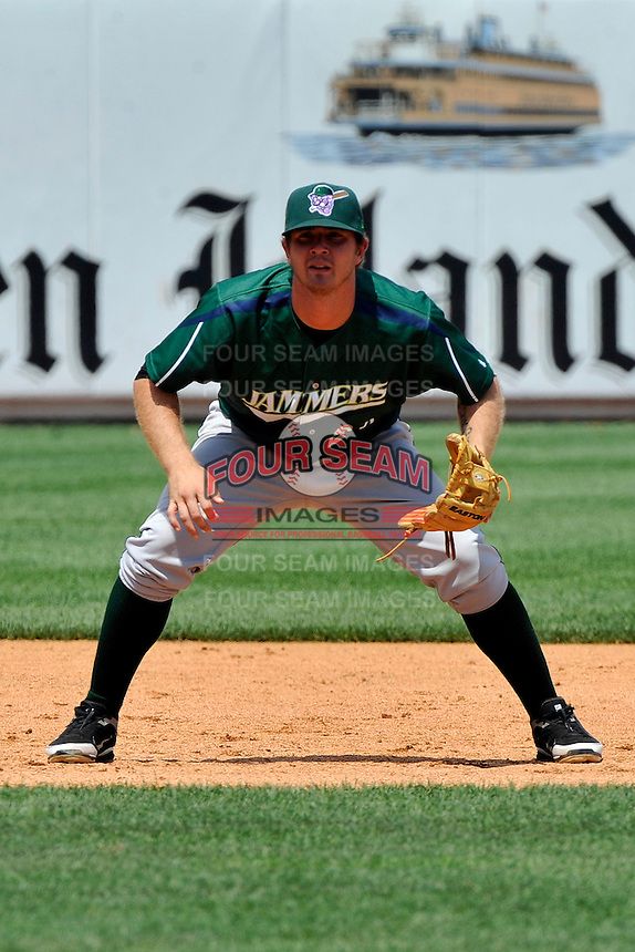 Jamestown Jammers thirdbaseman Joshua Adams #28 during a game against the Staten Island Yankees at Richmond County Bank Ballpark at St. George on August 01, 2011 in Staten Island, NY.  Staten Island defeated Jamestown 5-0.  Tomasso DeRosa/Four Seam Images