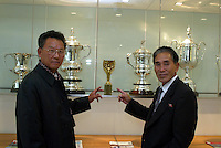 2 MEMEBERS OF THE NORTH KOREAN WORLD CUP TEAM OF 1966-HERE WITH THE WORLD CUP PICTURE  BY MARCELLO POZZETTI FOR THE TIMES NEWSPAPERS- MARCELLO POZZETTI 21 DELISLE ROAD LONDON SE28 0JD=TEL 02088551008 - FAX: 02088551937 - MOBILE 07973308835
