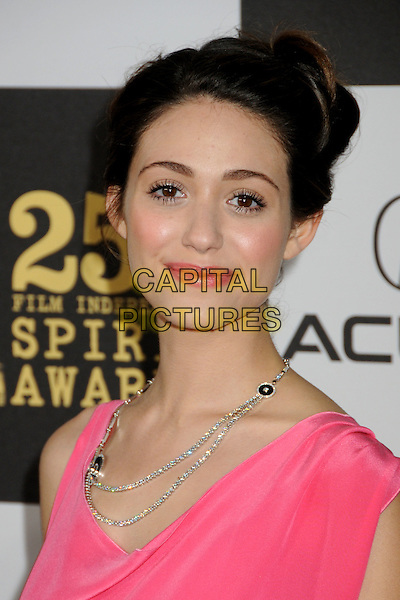 EMMY ROSSUM.25th Annual Film Independent Spirit Awards - Arrivals held at the Nokia Event Deck at L.A. Live, Los Angeles, California, USA..March 5th, 2010.headshot portrait pink velvet hair up silver diamond necklace make-up beauty .CAP/ADM/BP.©Byron Purvis/AdMedia/Capital Pictures.