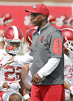 NWA Democrat-Gazette/DAVID GOTTSCHALK   Arkansas Razorback running back coach Reggie Mitchell at the beginning of drills Friday, July 28, 2017, during practice on campus in Fayetteville.
