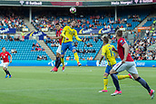 June 1th 2017, Ullevaal Stadion, Oslo, Norway; International Football Friendly 2018 football, Norway versus Sweden; Mohamed Elyounoussi of Norway battles with  Christoffer Nyman of Sweden