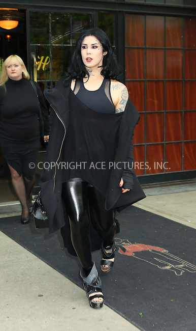 WWW.ACEPIXS.COM<br /> <br /> May 10 2016, New York City<br /> <br /> TV personality and tattoo artist Kat Von D leaves a downtown hotel on May 10 2016 in New York City<br /> <br /> By Line: Philip Vaughan/ACE Pictures<br /> <br /> ACE Pictures, Inc.<br /> tel: 646 769 0430<br /> Email: info@acepixs.com<br /> www.acepixs.com