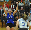 Madison Gale #14 of Kellenberg reacts after her team's victory over Sacred Heart in the Nassau-Suffolk CHSAA varsity girls volleyball championship at St. Dominic High School in Oyster Bay on Tuesday, Nov. 7, 2017.