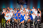 Liam Colleran and Aoife Doran celebrates with their fellow dancers and committee at the Irish Cancer Society Strictly Come Dancing in the INEC on Friday night
