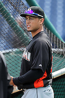 Miami Marlins outfielder Giancarlo Stanton #27 during batting practice before a game against the Philadelphia Phillies at Citizens Bank Park on April 9, 2012 in Philadelphia, Pennsylvania.  Miami defeated Philadelphia 6-2.  (Mike Janes/Four Seam Images)