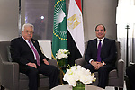 Palestinian President Mahmoud Abbas, meets with Egyptian President Abdel Fattah al-Sisi in New York, United States on September 22, 2019. Photo by Thaer Ganaim