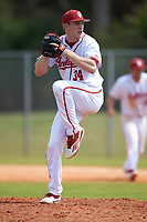Indiana Hoosiers relief pitcher Jonathan Stiever (34) delivers a pitch during a game against the Seton Hall Pirates on March 5, 2016 at North Charlotte Regional Park in Port Charlotte, Florida.  Seton Hall defeated Indiana 6-4.  (Mike Janes/Four Seam Images)