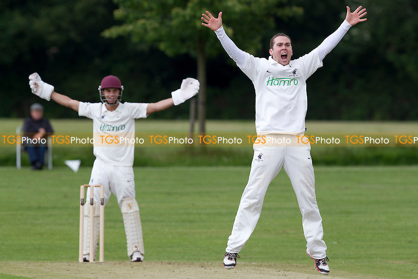 Todd Astle of Buckhurst Hill pleads for the decision - Chelmsford CC vs Buckhurst Hill CC - Essex Cricket League at Chelmer Park - 23/06/12 - MANDATORY CREDIT: Ray Lawrence/TGSPHOTO - Self billing applies where appropriate - 0845 094 6026 - contact@tgsphoto.co.uk - NO UNPAID USE.