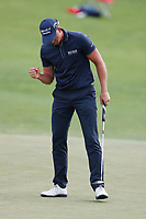 Henrik Stenson (SWE) reacts to making a putt on the 9th hole during the first round of the 118th U.S. Open Championship at Shinnecock Hills Golf Club in Southampton, NY, USA. 14th June 2018.<br /> Picture: Golffile | Brian Spurlock<br /> <br /> <br /> All photo usage must carry mandatory copyright credit (&copy; Golffile | Brian Spurlock)