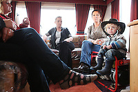 2/10/2010. Travelers Eileen Walsh, Martina O Donoghue, Ellen and Mike O Donoghue 2 from Limerick are pictured in their caravan at the Ballinasloe Horse Fair, Ballinasloe County Galway, Ireland. Picture James Horan