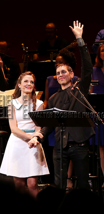 Laura Osnes and Tony Vincent during the Curtain Call for the New York City Center Encores! Off-Center production of 'Randy Newman's FAUST' - The Concert at City Center on July 1, 2014 in New York City.