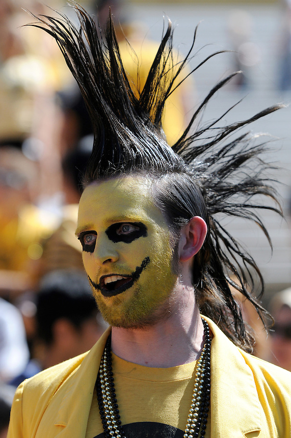 SEPTEMBER 10 2011:  A Colorado Buffaloes superfan with a died mohawk and a painted face  before a non-conference game with two PAC 12 teams between the Californa Golden Bears and the University of Colorado Buffaloes at Folsom Field in Boulder, Colorado. The Golden Bears beat the Buffaloes 36-33 in overtime.  *****For editorial use only*****