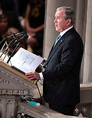 Former United States President George W. Bush speaks at the funeral service for the late US Senator John S. McCain, III (Republican of Arizona) at the Washington National Cathedral in Washington, DC on Saturday, September 1, 2018.<br /> Credit: Ron Sachs / CNP<br /> <br /> (RESTRICTION: NO New York or New Jersey Newspapers or newspapers within a 75 mile radius of New York City)