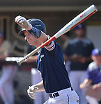 Marquette's Matt Arnold throws his bat towards the dugout after getting walked. Marquette defeated CBC in the Class 5 baseball sectional played at Vianney High Schoo lin St. Louis, MO on Wednesday May 22, 2019.<br /> Tim Vizer/Special to STLhighschoolsports.com