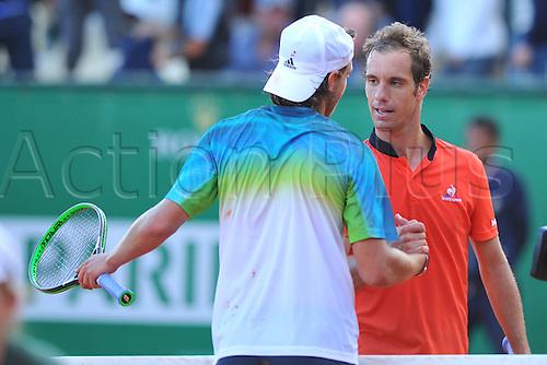 13.04.2016. Monte Carlo, Monaco. Monte Carlo ATP Tennis championships.  Lucas Pouille (Fra) beats Richard Gasquet (Fra)