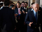 UNITED STATES – AUGUST 1: Speaker of the House John Boehner, R-Ohio, reacts to reporters' questions as he leaves the House Republicans' caucus meeting on the debt ceiling increase on Monday, Aug. 1, 2011, in the basement of the Capitol . (Photo By Bill Clark/Roll Call)