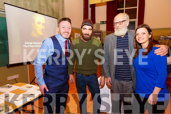 Lecture: Thomas Dillon, Kerry Historian-in-Residence pictured with decendants of George Hewson, Prince Farmer of North Kerry William,Jr. William, Sn. & Natalie Hewson from Castle Hewson, Askeaton, Co. Limerick at the lecture at the Kerry Writers Museum, Listowel on Thursday night last.