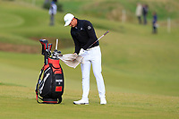 Haotong Li (CHN) on the 4th during Round 2 of the Alfred Dunhill Links Championship 2019 at Kingbarns Golf CLub, Fife, Scotland. 27/09/2019.<br /> Picture Thos Caffrey / Golffile.ie<br /> <br /> All photo usage must carry mandatory copyright credit (© Golffile | Thos Caffrey)