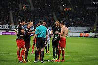 VOETBAL: HEERENVEEN: Abe Lenstra stadion 23-08-2014, SC Heerenveen - Excelsior uitslag 2 - 0, na de rode kaart voor Excelsior-keeper Jordy Deckers neemt Kevin Vermeulen zijn shirt over, ©foto Martin de Jong