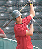May 27, 2008: Infielder Joaquin Rodriguez (22) of the Savannah Sand Gnats, Class A affiliate of the New York Mets, prior to a game against the Greenville Drive at Fluor Field at the West End in Greenville, S.C. Photo by:  Tom Priddy/Four Seam Images