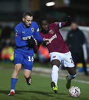 West Ham United's Arthur Masuaku and AFC Wimbledon's Dylan Connolly<br /> <br /> Photographer Rob Newell/CameraSport<br /> <br /> Emirates FA Cup Fourth Round - AFC Wimbledon v West Ham United - Saturday 26th January 2019 - Kingsmeadow Stadium - London<br />  <br /> World Copyright © 2019 CameraSport. All rights reserved. 43 Linden Ave. Countesthorpe. Leicester. England. LE8 5PG - Tel: +44 (0) 116 277 4147 - admin@camerasport.com - www.camerasport.com