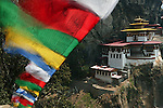 Bhutan, Paro, Taktshang Goemba Monastery and prayer flags