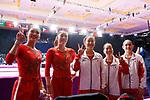 (L to R) <br />  Shiho Nakaji, <br />  Yuki Uchiyama, <br />  Yumika Nakamura. <br />  Soyoka Hanawa, <br />  Yurika Yumoto (JPN), <br /> AUGUST 22, 2018 - Artistic Gymnastics : <br /> Women's Team Final Vault <br /> at JIEX Kemayoran Hall D <br /> during the 2018 Jakarta Palembang Asian Games <br /> in Jakarta, Indonesia. <br /> (Photo by Naoki Morita/AFLO SPORT)