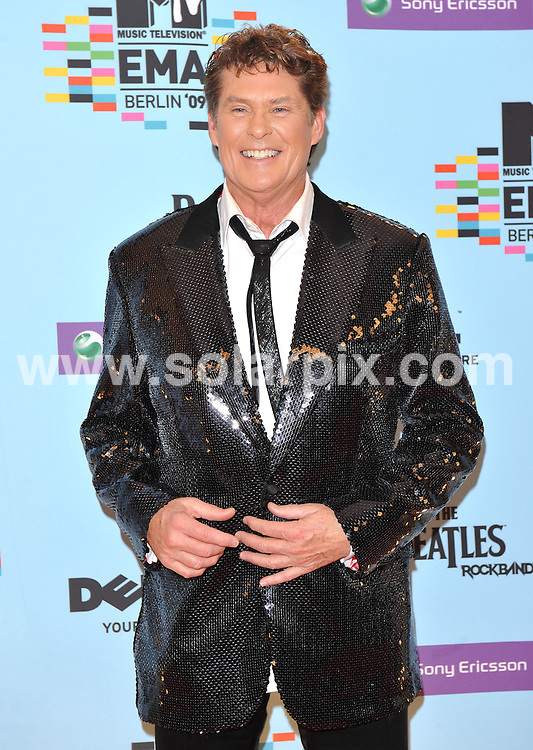 **ALL ROUND PICTURES FROM SOLARPIX.COM**.**WORLDWIDE SYNDICATION RIGHTS**.Red carpet arrivals and press room at the MTV European Music Awards 2009. Held at O2 World, Berlin, Germany, on Thursday November 05, 2009..This pic: David Hasselhoff..JOB REF: 10251 SSD     DATE: 05_11_2009.**MUST CREDIT SOLARPIX.COM OR DOUBLE FEE WILL BE CHARGED**.**MUST NOTIFY SOLARPIX OF ONLINE USAGE**.**CALL US ON: +34 952 811 768 or LOW RATE FROM UK 0844 617 7637**