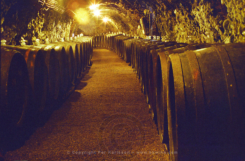 "The Royal Tokaji Wine company in Mad: the wine cellar with long tunnels filled with wooden barrels with ageing Tokaj wine. The RTWC in was one of the first Tokaj wineries to be ""revived"" by an injection of foreign capital. It makes wine in a traditional style. Credit Per Karlsson BKWine.com"