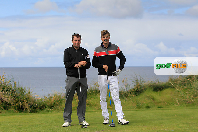 Ed Stack (Ballybunion) and Jack Pierse (Portmarnock) on the 4th tee during Matchplay Round 1 of the South of Ireland Amateur Open Championship at LaHinch Golf Club on Friday 24th July 2015.<br /> Picture:  Golffile | Thos Caffrey