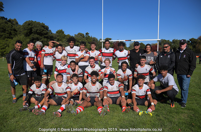 The Scots team pose for a group photo after the Transit Coachlines 1st XV Festival rugby union match between Scots College and Palmerston North Boys' High School at Rathkeale College in Masterton, New Zealand on Saturday, 4 May 2019. Photo: Dave Lintott / lintottphoto.co.nz