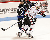 T.J. Dumonceaux (Bentley - 7), Mike McMurtry (NU - 7) - The visiting Bentley University Falcons defeated the Northeastern University Huskies 3-2 on Friday, October 16, 2015, at Matthews Arena in Boston, Massachusetts.