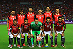 (L-R) Egypt's Mohamed Abdel-Shafy, Tarek Hamed, Essam El-Hadary, Mohamed Salah, Saleh Gomaa, Ahmed Fathy, Mohamed Elneny, Hassan Ahmed, Ramadan Sobhi, Ahmed Hegazi, Mohamed Abdel-Shafy pose for a team picture during their World Cup 2018 Africa qualifying match between Egypt and Congo at the Borg el-Arab stadium in Alexandria on October 8, 2017. Photo by Amr Sayed
