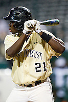 Kevin Jordan #21 of the Wake Forest Demon Deacons at bat against the Miami Hurricanes at NewBridge Bank Park on May 25, 2012 in Winston-Salem, North Carolina.  The Hurricanes defeated the Demon Deacons 6-3.  (Brian Westerholt/Four Seam Images)