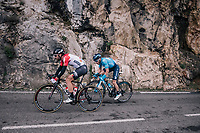 Thomas de Gendt (BEL/Lotto-Soudal) &amp; Carlos Barbero (ESP/Movistar)<br /> <br /> 76th Paris-Nice 2018<br /> stage 6: Sisteron &gt; Vence (198km)